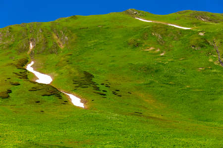 Beautiful mountain landscape with green grass at Caucasus mountains. 免版税图像