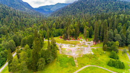 Beautiful mountain forest landscape with cottages aerial view. 免版税图像