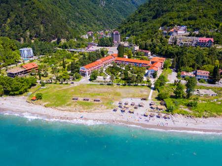 View from drone on Black sea coast resort 免版税图像