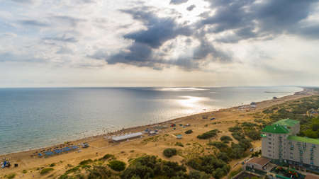 View from drone on Black sea coast resort