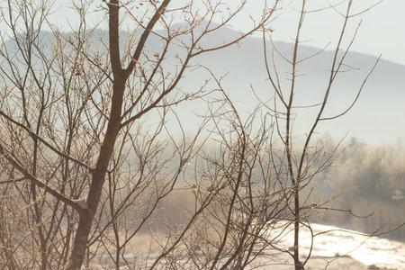 Beautiful sunny winter landscape at Caucasus mountains.