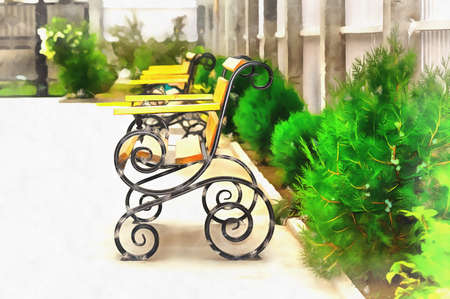 Beautiful benches with flowers close up view Standard-Bild