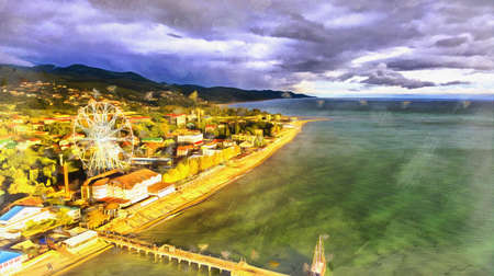 Aerial view on seashore resort area colorful painting looks like picture. Stock fotó