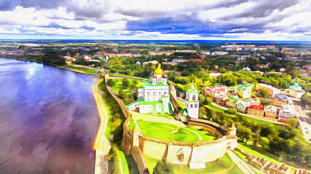 Aerial view of the Trinity Cathedral colorful painting looks like picture Stock fotó