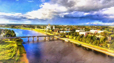Aerial view on Pskov old town colorful painting looks like picture, Russia Stock fotó