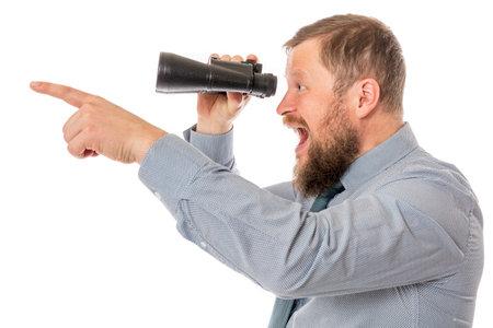 Soilid bearded man in shirt with binoculars