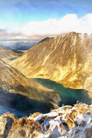 Beautiful mountain landscape at Polar Urals colorful painting Stock fotó
