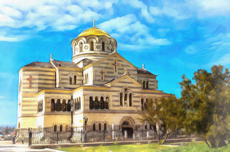 Orthodox church at Chersonese colorful painting looks like picture.