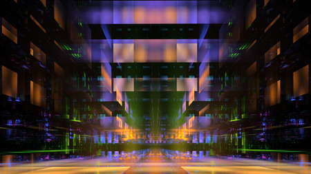 Abstract fractal illustration for creative design looks like modern city techno structure. Stock fotó