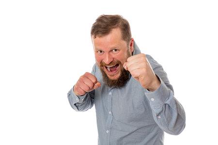 Soilid bearded man in shirt boxing studio portrait on white background.