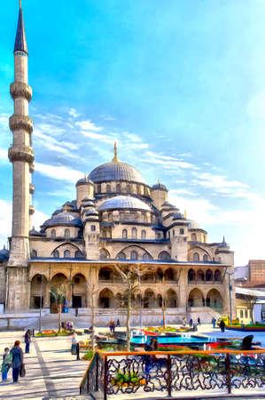Mosque building colorful painting Stock fotó
