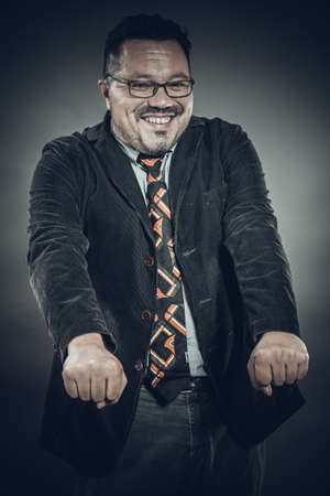Solid cheerful man in spectacles emotional portrait Stock fotó