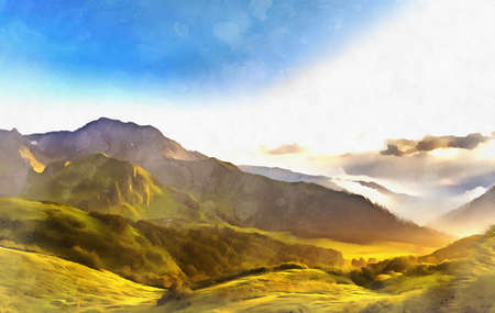 Scenery mountain landscape at Caucasus mountains colorful painting Stock fotó