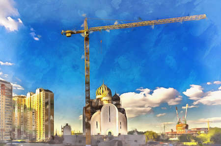 Modern cityscape with orthodox church under construction colorful painting looks like picture.