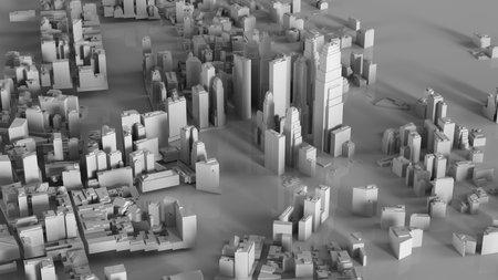 3D illustration of futuristic modern city model.