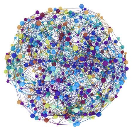 3D illustration of network grid globe on white background.