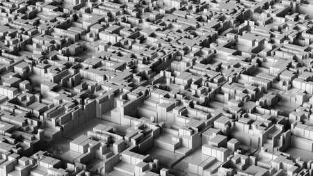 3D illustration of futuristic structure looks like modern city.