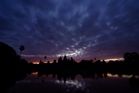 angor: Silhouette of Angor Wat temple in the sunrise