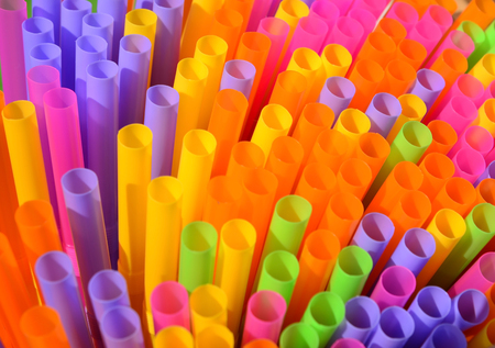 rainbow cocktail: Colorful drinking straws Stock Photo
