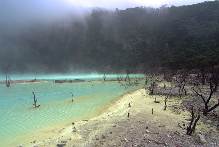 Kawah Putih Crater in Ciwidey West Java, indonesia Stock Photo