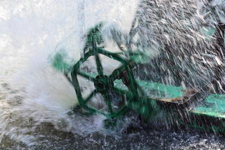 fill: Aerator turbine wheel fill oxygen into water in fish farm