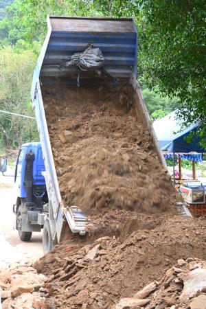 unloading: Dump Truck Unloading Soil *** motion