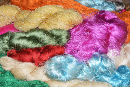 sericulture: Bundles of hand made colorful thread, Thai silk