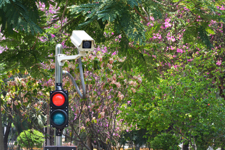 infra red: CCTV cameras on the red and green light