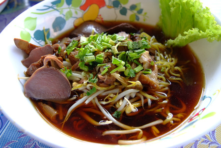 duck egg: Egg noodles served  with duck