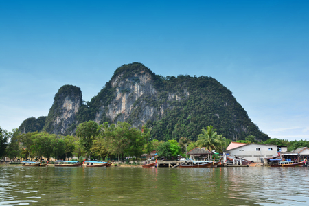 almost all: KOH PANYEE   PANYEE ISLAND : THE FISHERMANS SEA VILLAGE create a Almost all of the village in front of the limestone cliffs above the sea