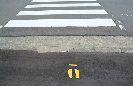 dont walk: Zebra crosswalk on the road for safety when people walking cross the street.