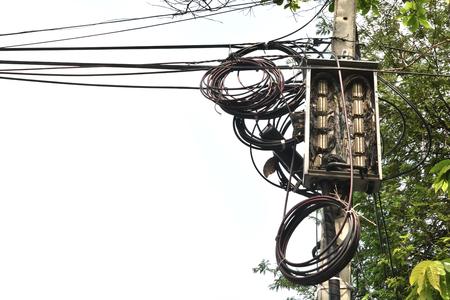 telephone poles: Electrical pole on sky