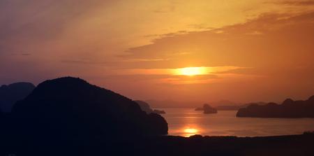 Panoramic of the Phang Nga bay Andaman sea at sunset, Thailand Stock Photo