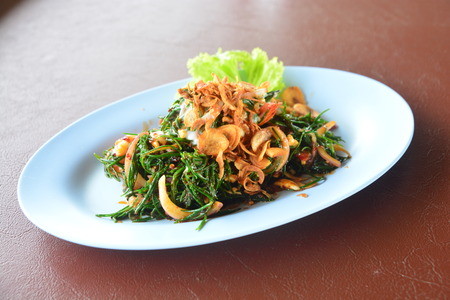 Spicy Shrimp Suaeda maritime,  Thai food