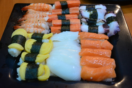 Sushi Japanese food in Resturant note  select focus with shallow depth Stock Photo