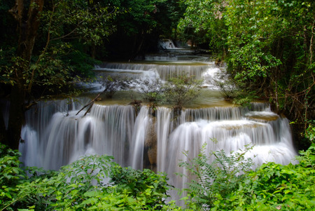 Huai Mae Khamin Waterfall is a major attraction in Sri Nakarin Dam National Park. The multi-tiered waterfall is known for its scenic beauty, relaxing atmosphere and trekking trails to admire butterflies and birds.
