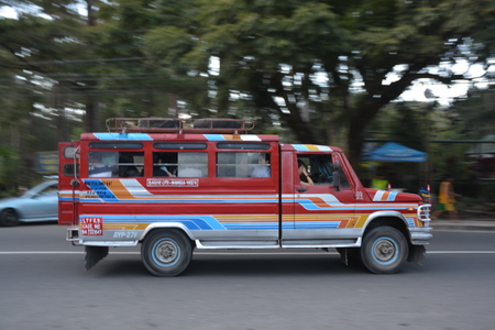 Manila, Philippines - October 10, 2018 : Jeepney  sometimes called simply jeep  are the most popular means of public transportation in the Philippines Editorial