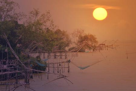 Klong Pak Pra in morning fisherman  village  , khuan-khanun District, Phatthalung  province, Thailand
