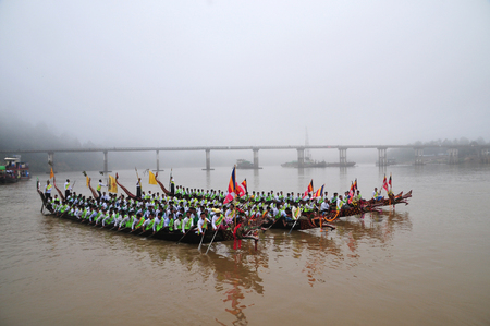 Tanintharyi, Myanmar- October 28,2018 : King of Nagas long boat racing festival , This event has been the pride of Tanintharyi for generations, The only one in Myanmar
