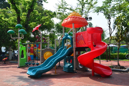 Childrens playground in a city park, Playground for children.