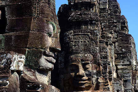 Face of Bayon, Temple, Angkor, Cambodia Stock Photo
