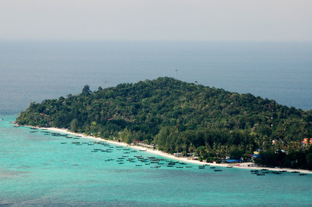 Top view of Chado Cliff view point on Adang island, From here you can see Koh Lipe
