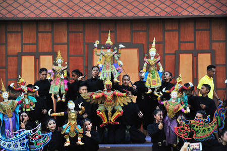 BANGKOK, THAILAND – 28 MAY 2019  : Joe Louis  Traditional Thai Puppet Theatre had an honored opportunity to a part of Celebrating for Coronation Ceremony at Sanam Laung in front of the Grand Palace