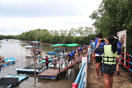 CHANTABURI, LAEM SING, THAILAND – 3 AUGUST 2019 : Bamboo (Substitute materials with tube PVC)  raft Rafting boat Flowing water,Rafting Adventure,travel adventure in the lake of Laem Sing District.