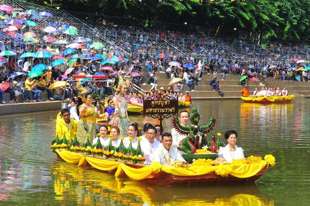 PHETCHABUN, THAILAND – 28  SEPTEMBER 2019 : Um Phra Dam Nam Ceremony Festival, The Boat parade to the Pasak river, Wat Traipoom to Wat Bote Chanamarn