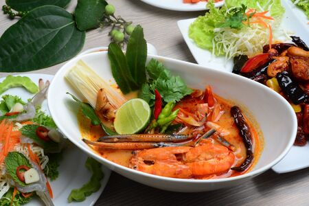 River prawn spicy soup,(in Thai: Tom Yum goong or Tom Yum kung) is probably the most famous of Thai soups and is popular not only in Thailand but in Thai restaurants worldwide.