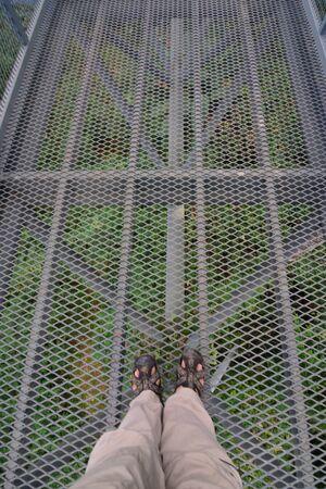 Walking skywalk are made of steel ,walkway background.