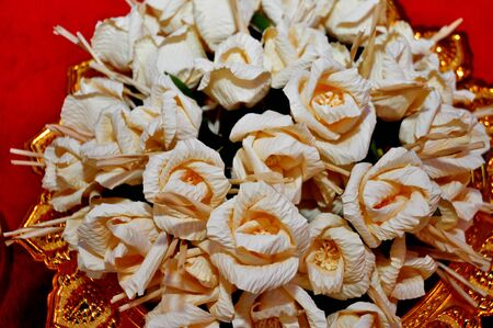 Soft focus artificial rose wood flowers, Thai Funeral Flower. Artificial Flower Used For Cremation