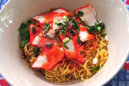 Egg noodle with red roast pork Stock Photo