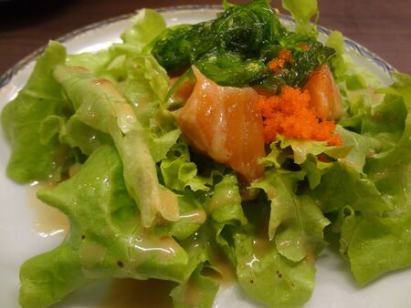 healthy salmon salad on  Japanese traditional dish